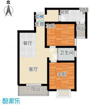 金色花语城90.97㎡1#楼1/2单元B22室户型