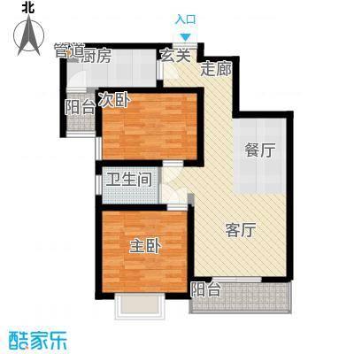 金色花语城92.34㎡1#楼1/2单元B2'2室户型
