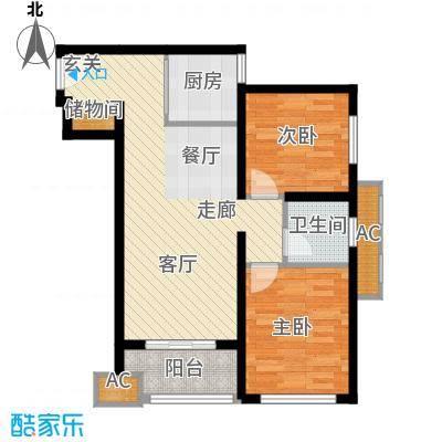 天朗蔚蓝东庭80.43㎡六号楼F'户型
