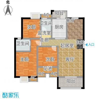 荣华水岸新城125.76㎡二期66#B标准层户型