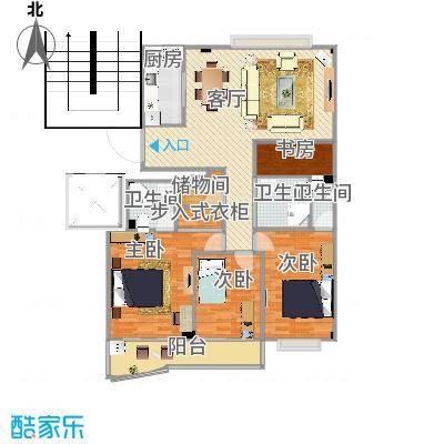 方案3厨房竖向_3室3卫一厅_南湖自住小区