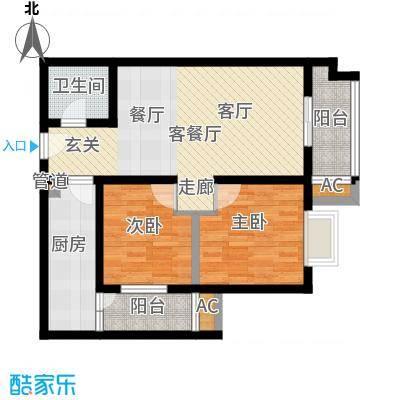 华旗东郡85.79㎡4#楼B2户型
