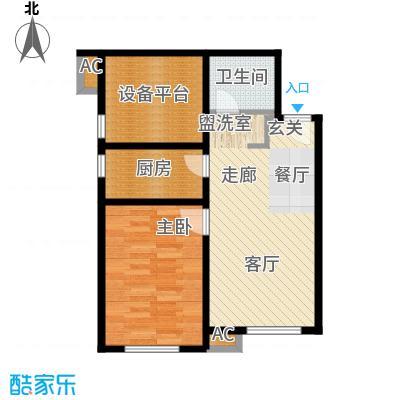 假日盈润园62.00㎡一期1号楼标准面积6200m户型