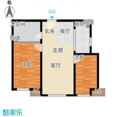 假日盈润园77.00㎡10#标准层B户面积7700m户型