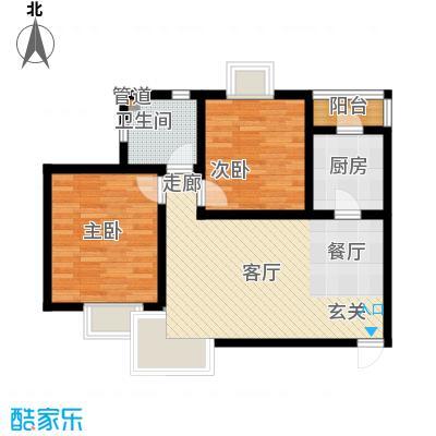 天房海滨园88.64㎡高层标准层A户型