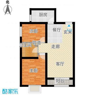 天房海滨园88.46㎡高层标准层B户型