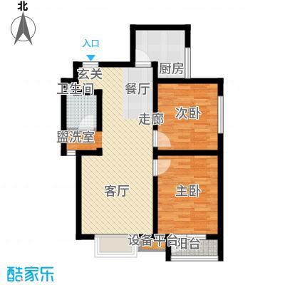 天房海滨园90.66㎡高层标准层D户型