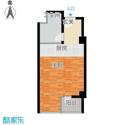 华北城S1主题酒店公寓53.00㎡高层标准层B户型
