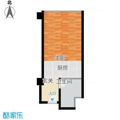 华北城S1主题酒店公寓50.00㎡高层标准层A户型