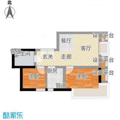 东北角艺术公寓72.41㎡一期1、2、3#楼2-32层E户型