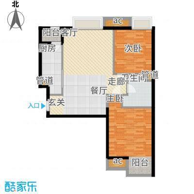天津湾海景雅苑88.25㎡高层标准面积8825m户型