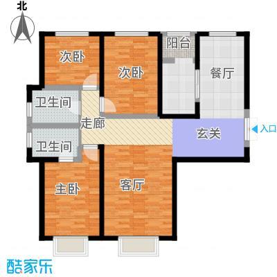 枫景湾家园136.70㎡高层6号楼标准层01户型