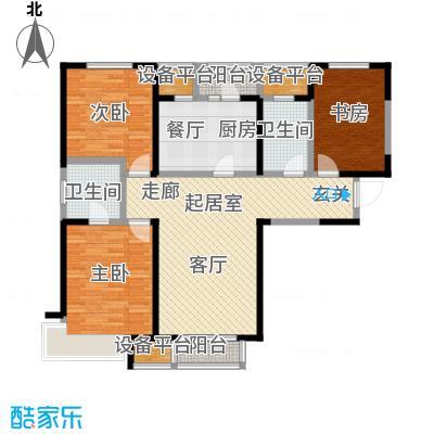 双发金玺城123.87㎡高层标准层A户型