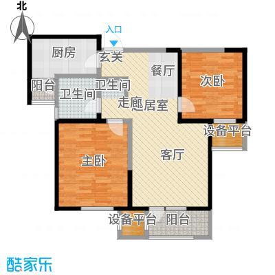 中兴泊仕湾87.71㎡一期高层1号楼标准层E户型