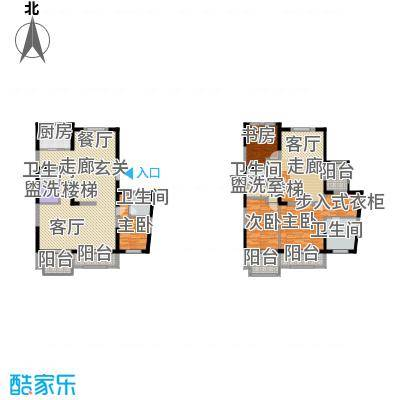 万科柏翠园230.00㎡二期高层标准层跃层中户瑞景居户型