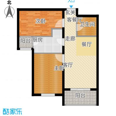 津门及第81.18㎡高层标准层D户型