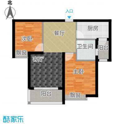 恒大绿洲63.41㎡25号楼1单元标准层C2室户型