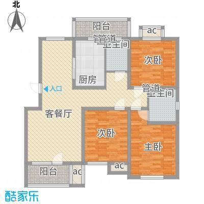 明城东岸136.00㎡高层25、26、31号楼标准层D户型