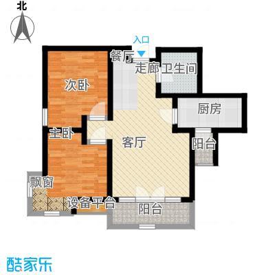 华城领秀90.18㎡二期14-15号楼标准层Q2户型