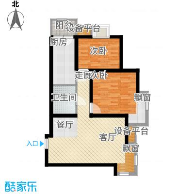 华城领秀85.08㎡一期1号楼标准层B2户型