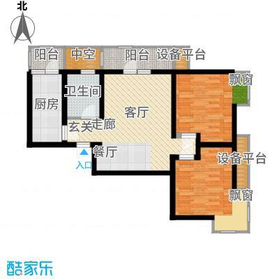 华城领秀91.83㎡二期14-15号楼标准层Q1户型