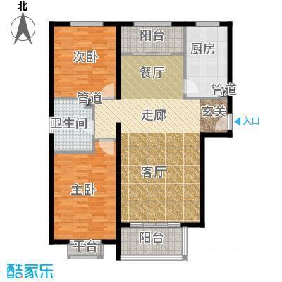 龙熙帝景99.86㎡高层标准层户型