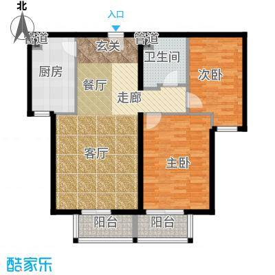 龙熙帝景90.47㎡高层标准层户型