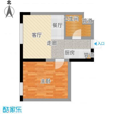 宝利国际广场云观公寓60.00㎡公寓2号楼标准层D户型