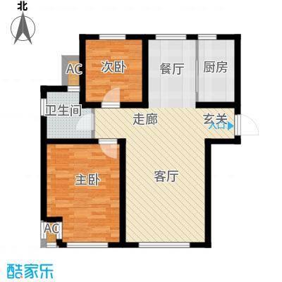 听涛苑90.00㎡12-17号楼标准层A户型