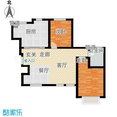 听涛苑106.00㎡21-26号楼标准层B4户型