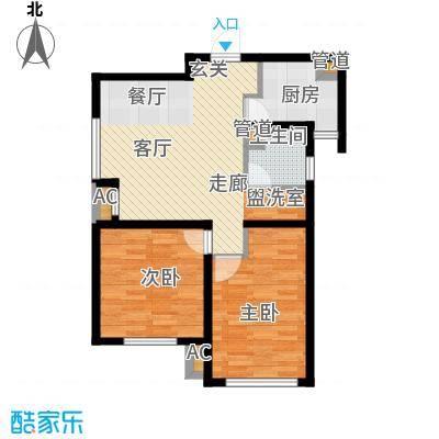 听涛苑86.00㎡7/11号楼标准层F户型