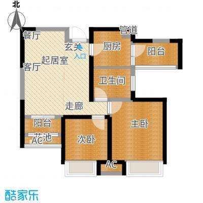 国耀上河城88.00㎡6#、7#、10#楼标准层02/03单元A12室户型