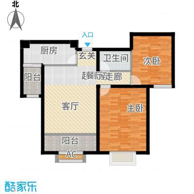 融创君澜融公馆86.00㎡高层2号楼标准层I2户型