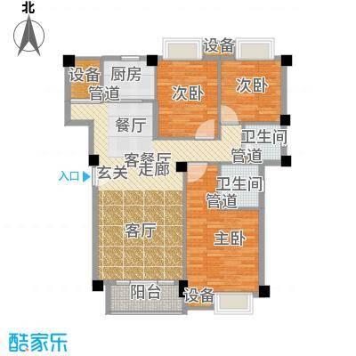 联发滨海琴墅115.00㎡洋房1、5号楼标准层C1户型
