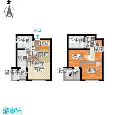 弘泽鉴筑92.40㎡5号楼标准层跃层户型
