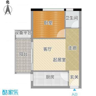 凯旋国际公寓60.21㎡1号楼标准层C户型