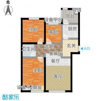 弘泽鉴筑105.70㎡5号楼标准层舒雅居户型