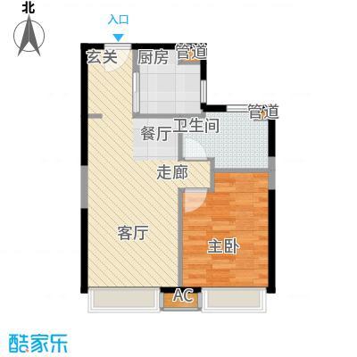 天津大悦城悦府68.00㎡高层1、3、4、5号楼标准层E户型