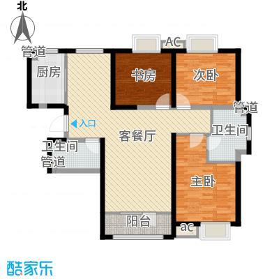 中建御景华庭134.00㎡高层标准层3b-1户型