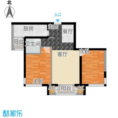 汉滨城市花园93.92㎡一期高层标准层G2户型