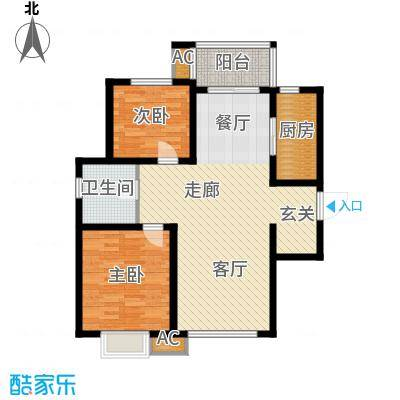 喜蜜湾91.67㎡高层标准层D1户型