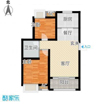 景瑞阳光尚城88.00㎡三期洋房44#、45#、49#、52#楼标准层K1户型