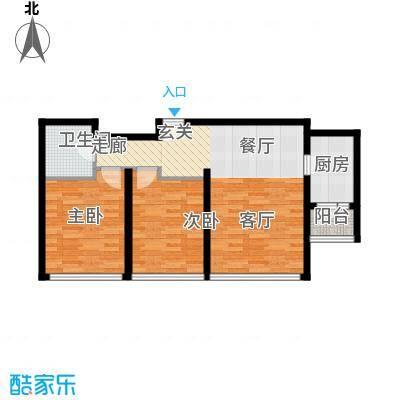 景瑞阳光尚城88.00㎡二期9-14号楼标准层B2户型