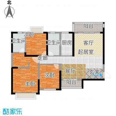 恒大绿洲136.00㎡15号楼3单元013室户型