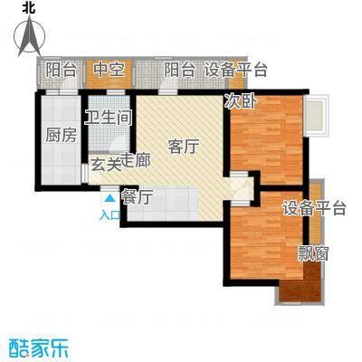 华城领秀91.83㎡一期1号楼标准层Q1户型