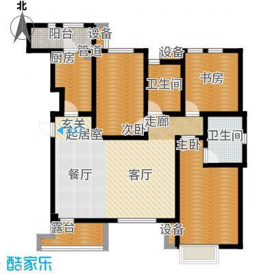 世嘉125.36㎡洋房37、38、39、41号楼三层H4户型