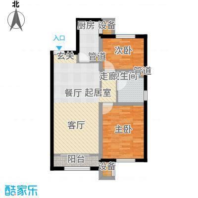 凤河孔雀城87.00㎡高层标准层B2户型