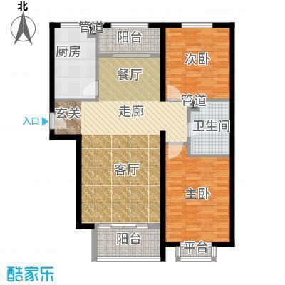 龙熙帝景98.91㎡高层标准层户型