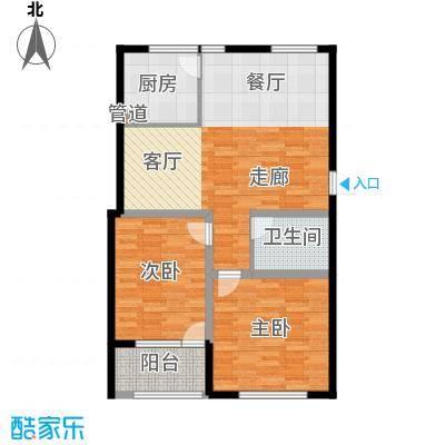 龙山花苑89.00㎡2居室面积8900m户型