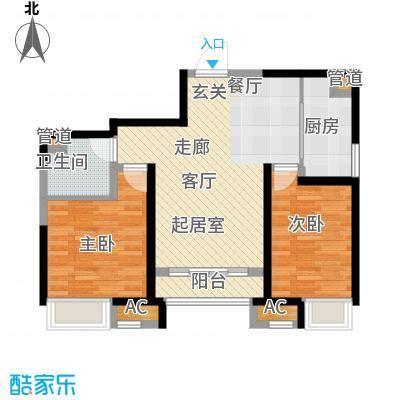 国耀上河城90.00㎡1#、2#、3#、4#、5#楼标准层02单元A22室户型